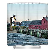 Lobster Pots On Rockports T Wharf Shower Curtain by Jeff Folger