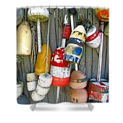 Lobster Trap Buoys 1 Shower Curtain