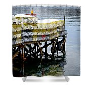 Lobster Traps In Winter Shower Curtain
