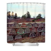Lobster Traps Shower Curtain by Jeff Kolker