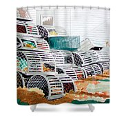Lobster Traps Shower Curtain
