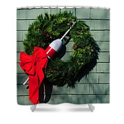 Lobsterman's Christmas Wreath Shower Curtain