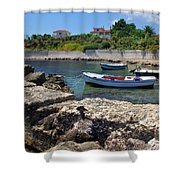 Local Boats In Harbour Shower Curtain