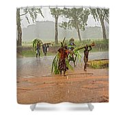 Local People Crossing The Road In Malawi Shower Curtain