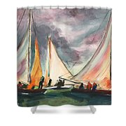 Locals At Sea Shower Curtain
