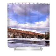 Lock And Dam Snowscape Shower Curtain