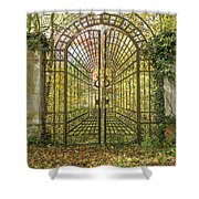 Locked Iron Gate In The Autumn Park.  Shower Curtain