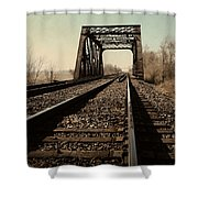 Locomotive Truss Bridge Shower Curtain