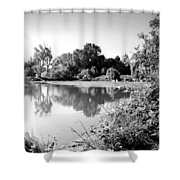 Lodi Pig Lake Reflections B And W Shower Curtain