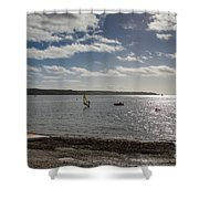 Loe Beach Windsurfers Shower Curtain