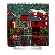 Lofoten Fishing Huts Oil Shower Curtain