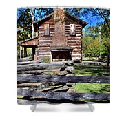 Log Cabin And Wooden Fence At Ninety Six National Historic Site 2 Shower Curtain