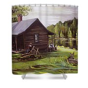 Log Cabin By The Lake Shower Curtain