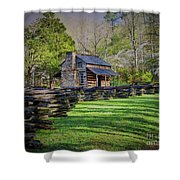 Log Cabin, Smoky Mountains, Tennessee Shower Curtain
