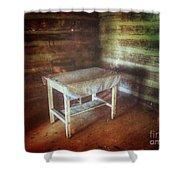 Log Cabin Table Shower Curtain