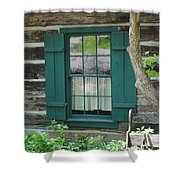 Log Cabin Window Shower Curtain