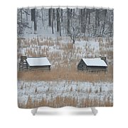 Log Cabins In Valley Forge Shower Curtain
