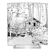 Log Home Shower Curtain