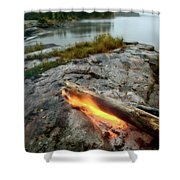 Log On Fire Manitoba Lake Wilderness Shower Curtain