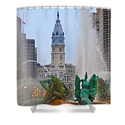 Logan Circle Fountain With City Hall In Backround 3 Shower Curtain