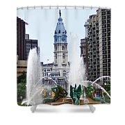 Logan Circle Fountain With City Hall In Backround Shower Curtain by Bill Cannon