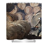 Logger Cutting Tree Trunk, Cameroon Shower Curtain