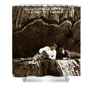 Logger With Ax On Springboard Loggers Sitting Inside Undercut  Circa 1890 Shower Curtain
