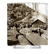 Logging With Oxen At A Saw Mill Sonoma County California Circa 1900 Shower Curtain