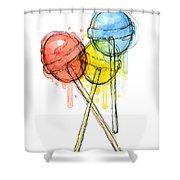 Lollipop Candy Watercolor Shower Curtain