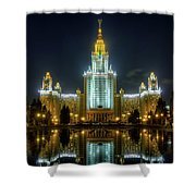 Lomonosov Moscow State University At Night Shower Curtain by Alexey Kljatov