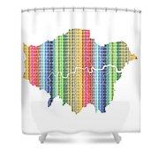 London Boroughs Map - Rainbow Shower Curtain