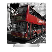 London Bus Shower Curtain by Agusti Pardo Rossello