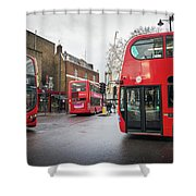 London Buses Shower Curtain