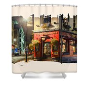 London Cafe Pf Shower Curtain