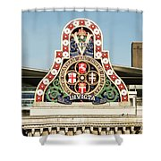 London Chatham And Dover Railway Crest With Invicta Motto Blackfriars Railway Station Shower Curtain