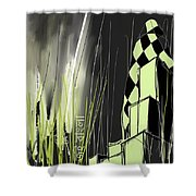 London E1 Skyline Abstract  Shower Curtain