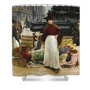 London Flower Girls Piccadilly Circus Shower Curtain