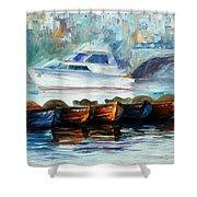 London-fog Over Thames - Palette Knife Oil Painting On Canvas By Leonid Afremov Shower Curtain