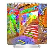 London Graffiti Pop Art Shower Curtain