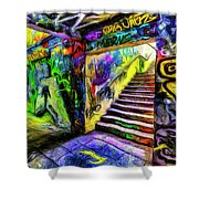London Graffiti Van Gogh Shower Curtain