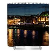 London Night Magic - Colorful Reflections On The Thames River Shower Curtain