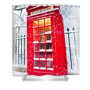 London Red Telephone Booth  Shower Curtain