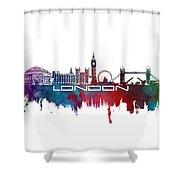London Skyline City Blue Shower Curtain