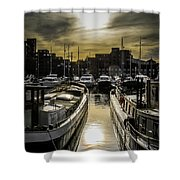 London. St. Katherine Dock. Into The Sun. Shower Curtain