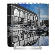 London. St. Katherine Dock. Reflections. Shower Curtain