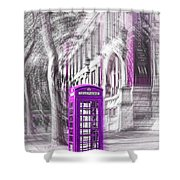 London Telephone Purple Shower Curtain