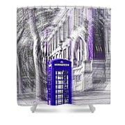 London Telephone Purple Blue Shower Curtain