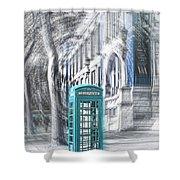 London Telephone Turquoise Shower Curtain