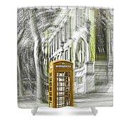 London Telephone Yellow Shower Curtain