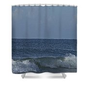 Lone Boat On The Horizon Shower Curtain